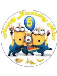 7.5 Despicable Me Minions Party edible icing or Wafer birthday cake topper